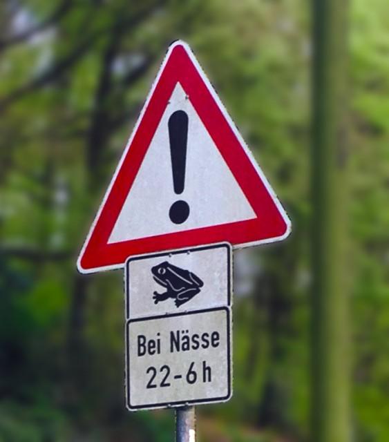 Verkehrsschild Krötenwanderung bearbeitet