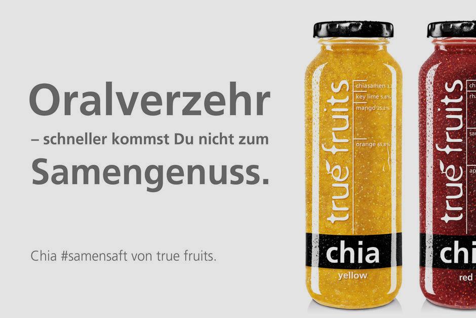 Eines von vier provokanten true fruits-Plakaten. Hier: Oralverzehr