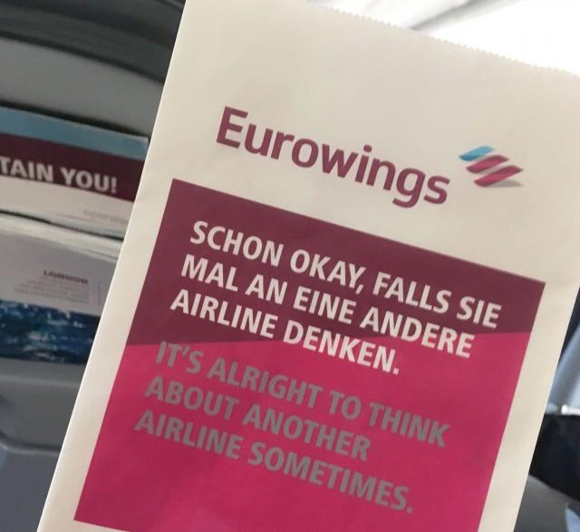 Eurowings Aufdruck Kotztüte