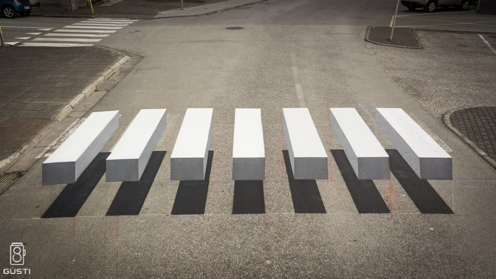 3D-Zebrastreifen in einer isländischen Kleinstadt